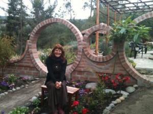 Edith Lesley Foley in chakra garden
